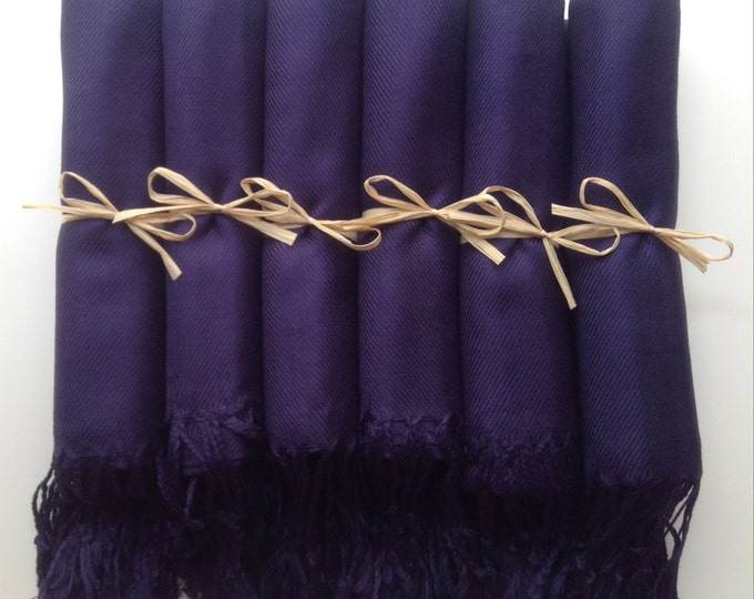 Dark Navy Blue Shawls with Raffia Ribbon, Set of 7, Pashmina, Scarf, Wedding Favor, Bridal Shower Gift, Bridesmaids Gift, Wraps