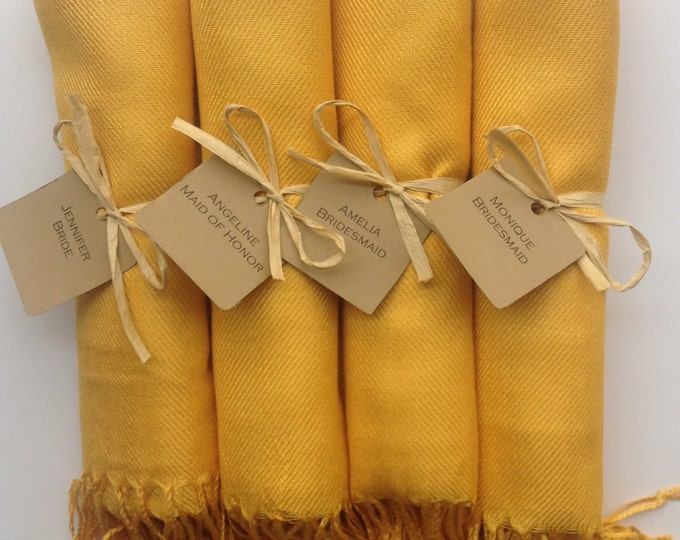 Mustard Yellow Shawls with Raffia Ribbon and Kraft Favor Tags, Set of 4, Pashmina, Wedding Favor, Bridal, Bridesmaids Gift, Wraps