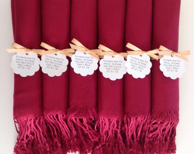 Pashmina, Wine Red Shawls, Gold Ribbon, Scallop Favor Tags, Set of 6, Pashminas, Bridesmaids Gifts, Wedding Favors, Bridal Shower Favors