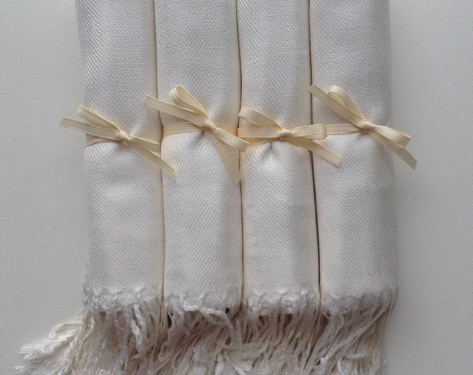 Pashmina, Ivory Shawls, Ivory Ribbon, Set of 4, Pashminas, Wedding Favor, Bridal Shower Favors, Bridesmaid Gift, Bridesmaid Pashmina