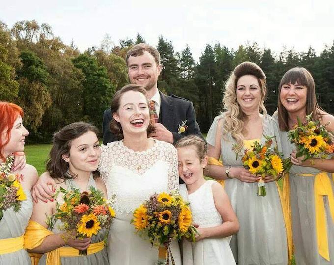 Pashmina, Sunshine Yellow Shawls, Raffia Ribbon, Kraft Favor Tags, Set of 5, Pashmina, Wedding Favors, Bridal, Bridesmaid Gift, Pashmina