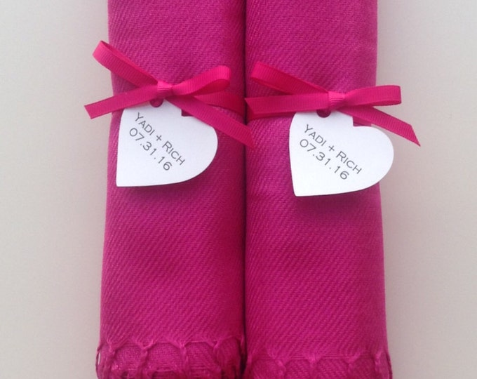 Hot Pink Shawls with Hot Pink Ribbon and Heart Favor Tags, Set of 2, Pashmina, Wedding Favor, Bridal Shower Gift, Bridesmaids Gift, Wraps