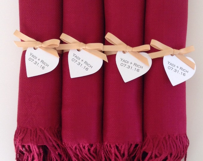 Wine Red Shawls with Gold Ribbon and Heart Favor Tags, Set of 4, Pashmina, Bridal, Bridesmaids, Wraps, Welcome Bags, Wedding Keepsakes