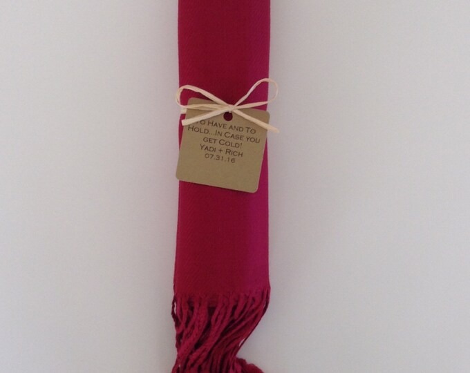 Wine Red Shawl with Raffia Ribbon and Kraft Favor Tag, 1, Pashmina, Wedding Favor, Bridal, Bridesmaids, Wraps, Welcome Bags