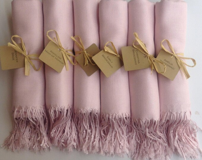 Baby Pink Shawls with Raffia Ribbon and Kraft Favor Tags, Set of 13, Pashmina, Wedding Favor, Bridal, Bridesmaids Gift, Wraps, Welcome Bags