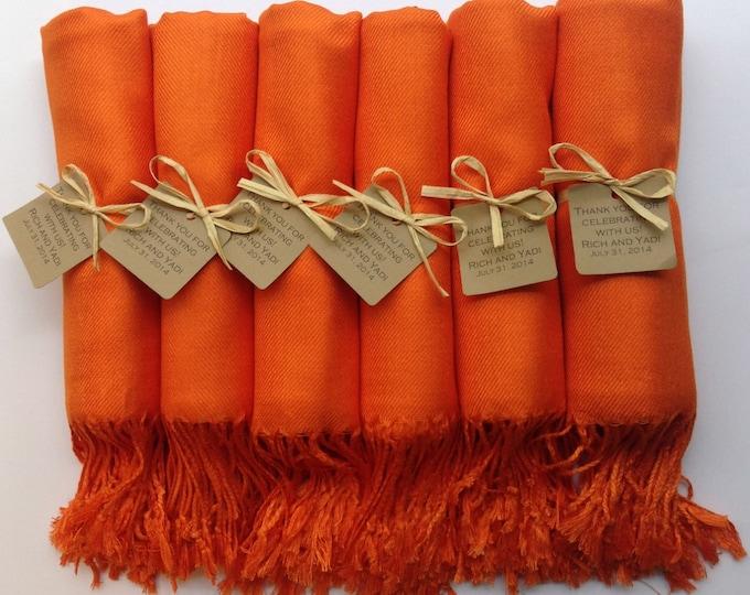 Orange Shawls with Raffia Ribbon and Kraft Favor Tags, Set of 6, Pashmina, Wedding Favor, Bridal, Bridesmaids Gift, Wraps, Welcome Bags
