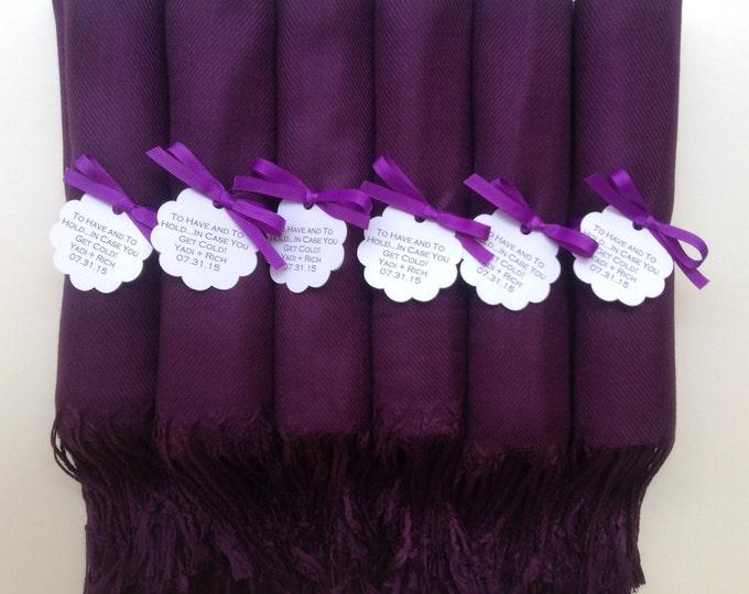 Eggplant Shawls with Purple Ribbon and Scallop Favor Tags, Set of 9, Pashmina, Wedding Favor, Bridal, Bridesmaids Gift, Wedding Keepsakes