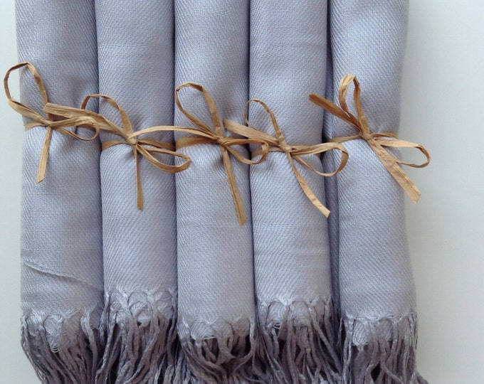 Light Silver Shawls with Raffia Ribbon, Set of 5, Pashmina, Scarf, Wedding Favor, Bridal Shower Gift, Bridesmaid Gift, Wraps