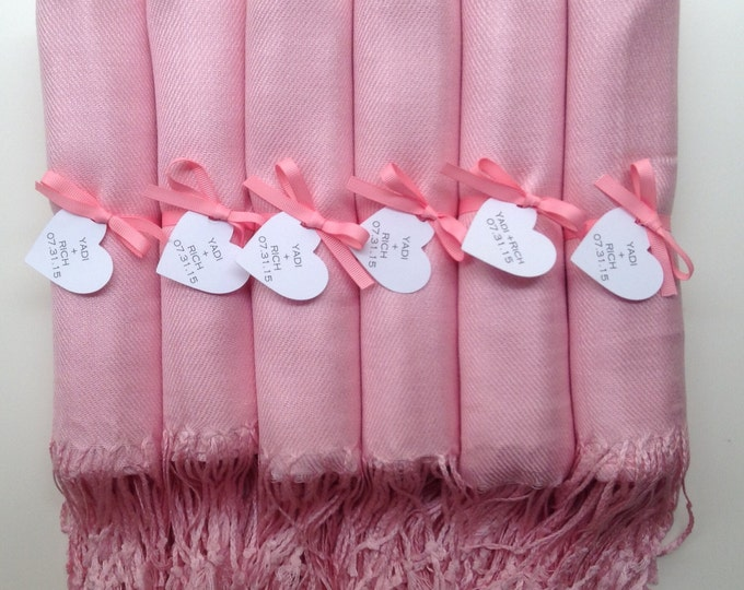 Blush Pink Shawls with Pink Ribbon and Heart Favor Tags, Set of 6, Pashmina, Wedding Favor, Bridal, Bridesmaids Gift, Wraps, Welcome Bags