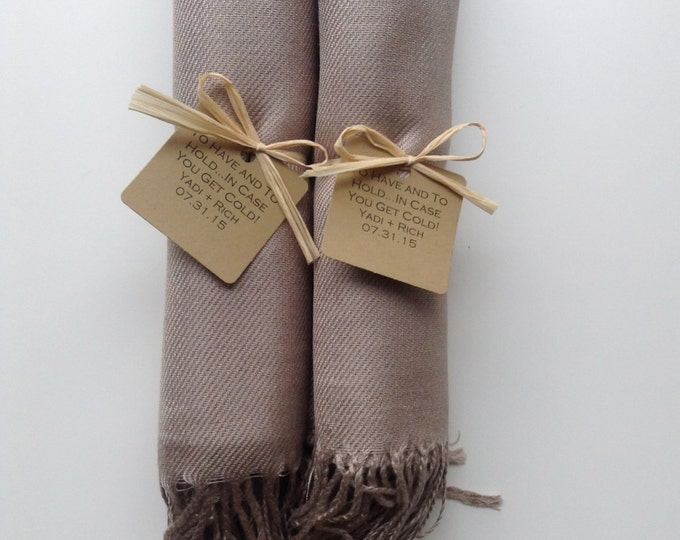 Taupe Shawls with Raffia Ribbon and Kraft Favor Tags, Set of 2, Pashmina, Wedding Favor, Bridal, Bridesmaids Gift, Wraps, Welcome Bags