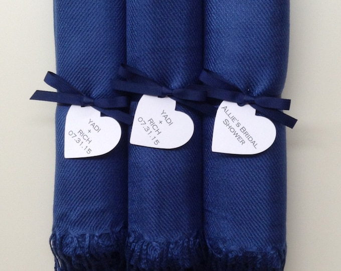 Navy Blue Shawls with Navy Ribbon and Heart Favor Tags, Set of 3, Pashmina, Wedding Favor, Bridal, Bridesmaids Gift, Wraps
