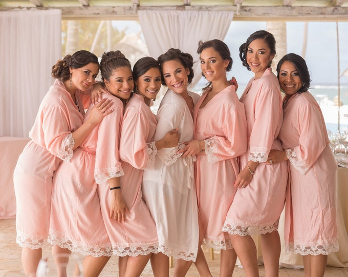 Cotton Robes with Lace, Set of 8, Bridesmaid Robes, Embroidered Cotton Robes, Monogrammed Robes, Cotton Robe, Lace Trim, Wedding Gifts