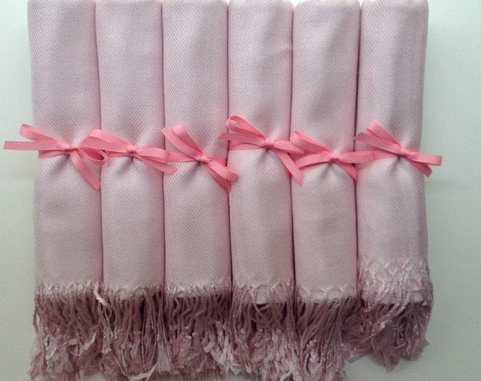 Baby Pink Shawls with Pink Ribbon, Set of 10, Pashmina, Scarf, Wedding Favor, Bridal Shower Gift, Bridesmaids Gift, Wedding Keepsakes