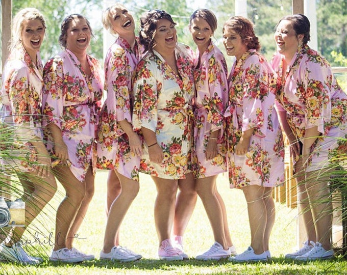 Floral Robes, Set of 5, Floral Satin Robe, Silk Floral Robes, Bridesmaids Gifts, Wedding Party, Bridal Party Robes, Silk Bridesmaids Robe