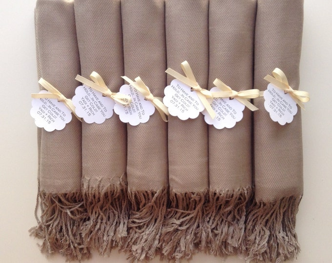 Taupe Shawls with Ivory Ribbon and Scallop Favor Tags, Set of 8, Pashmina, Wedding Favor, Bridal, Bridesmaids Gift, Wraps, Welcome Bags