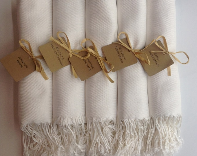 Pashmina, Ivory Shawls, Raffia Ribbon, Kraft Favor Tags, Set of 5, Pashminas, Wedding Favors, Bridesmaids Gift, Pashmina, Bridesmaids Shawls