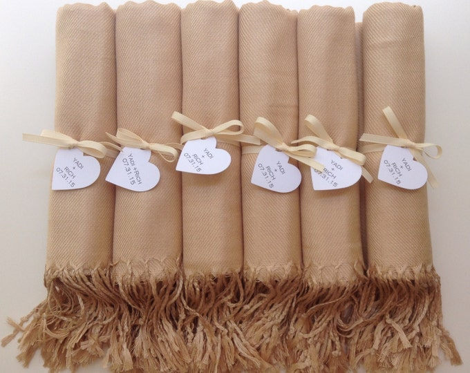 Champagne Shawls with Ivory Ribbon and Heart Favor Tags, Set of 6, Pashmina, Wedding Favor, Bridal, Bridesmaids Gift, Wraps, Welcome Bags