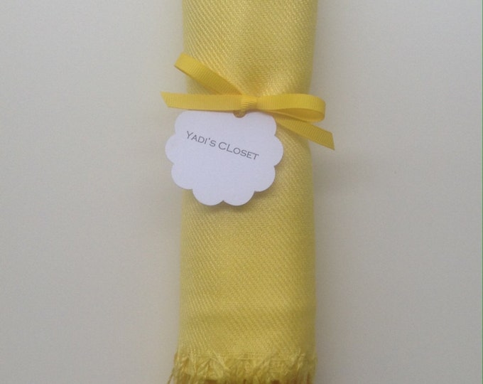 Sunshine Yellow Shawl with Yellow Ribbon and Scallop Favor Tag, 1, Pashminas, Wedding Favor, Bridal, Bridesmaids Gift, Wraps, Welcome Bags