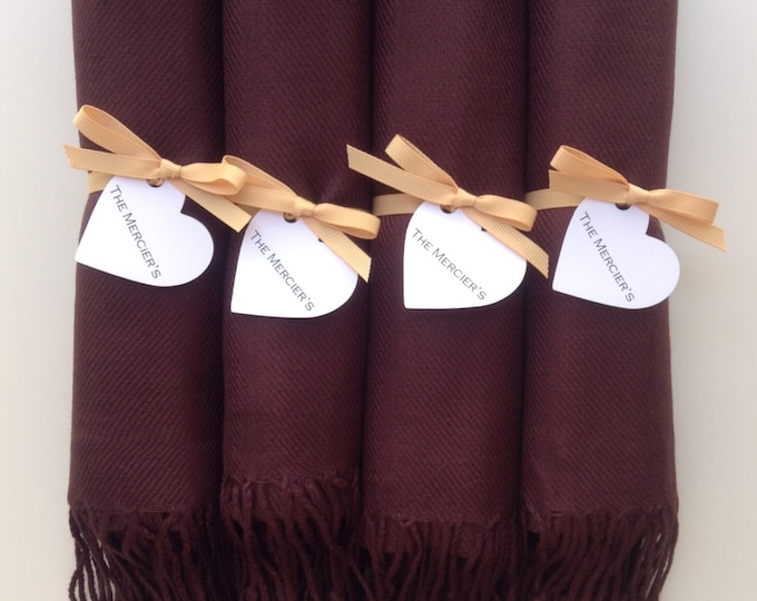 Chocolate Brown Shawls with Caramel Ribbon and Heart Favor Tags, Set of 4, Pashmina, Scarf, Wedding Favors, Bridesmaids Gift, Wraps