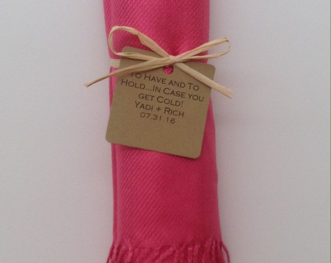 Bubblegum Pink Shawl with Raffia Ribbon and Kraft Favor Tag, 1, Pashmina, Wedding Favor, Bridal Shower Gift, Bridesmaids Gift, Wraps