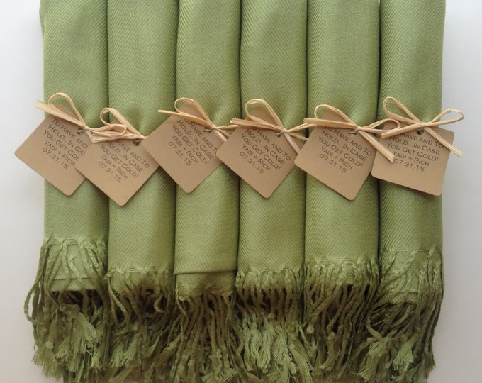 Lime Green Shawls with Raffia Ribbon and Kraft Favor Tags, Set of 8, Pashminas, Wedding Favors, Bridal, Bridesmaids Gift, Wedding Shawls