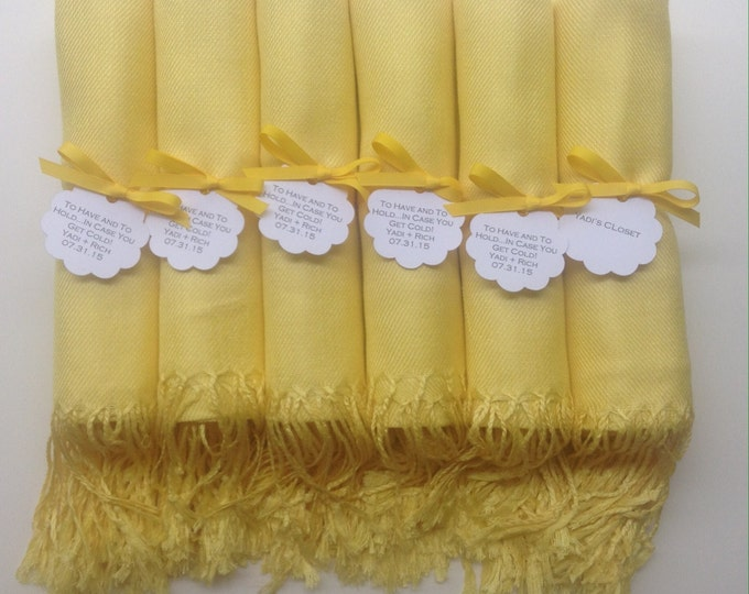 Sunshine Yellow Shawls with Yellow Ribbon and Scallop Favor Tags, Set of 6, Pashminas, Bridal, Bridesmaids Gift, Wraps, Welcome Bags