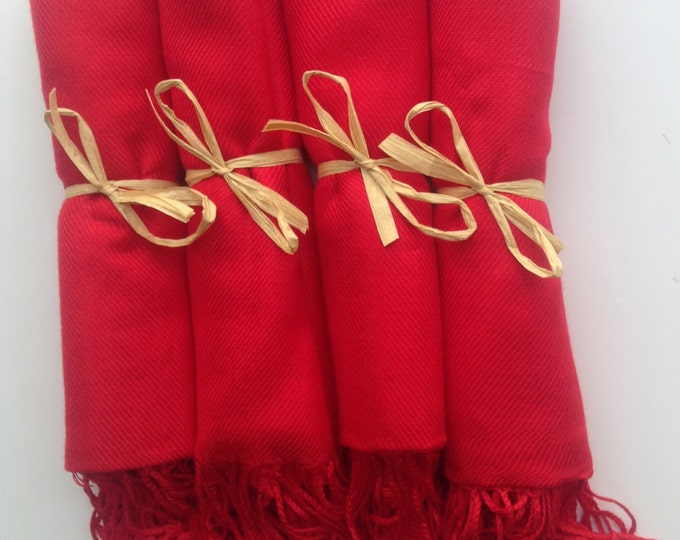 Red Shawls with Raffia Ribbon, Set of 4, Pashmina, Scarf, Shawl, Wedding Favor, Bridal Shower Gift, Bridesmaids Gift, Wrap, Welcome Bags