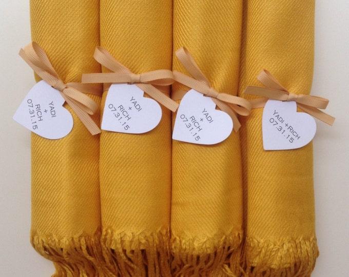 Pashmina, Mustard Yellow Shawls, Gold Ribbon, Heart Favor Tags, Set of 4, Pashminas, Wedding Favors, Bridesmaids Gift, Wedding Pashminas