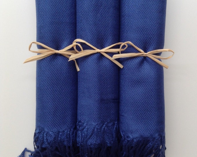 Navy Blue Shawls with Raffia Ribbon, Set of 3, Pashmina, Scarf, Wedding Favor, Bridal Shower, Bridesmaids, Wraps, Welcome Bags