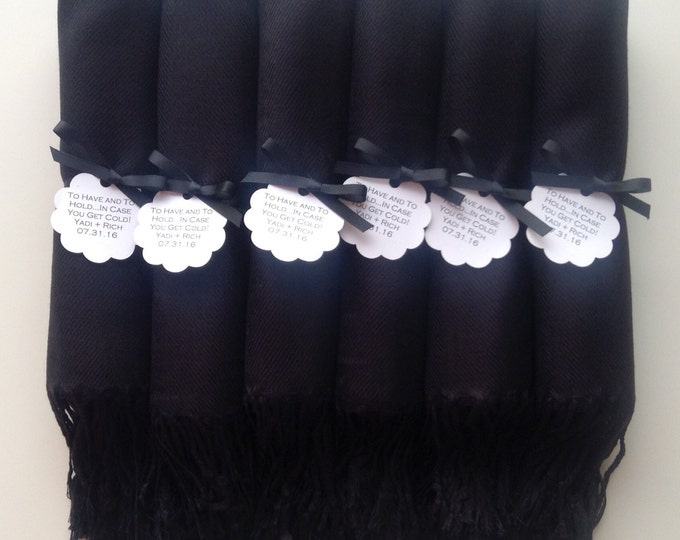 Pashmina, Black Shawls, Black Ribbon, Scallop Favor Tags, Set of 12, Pashminas, Scarf, Wedding Favor, Bridesmaid Pashmina, Bridesmaid Gift,