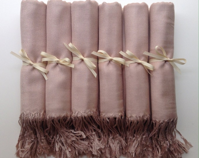 Nude Shawls with Ivory Ribbon, Set of 5, Pashmina, Scarf, Wedding Favor, Bridal Shower Gift, Bridesmaids Gift, Wedding Keepsakes