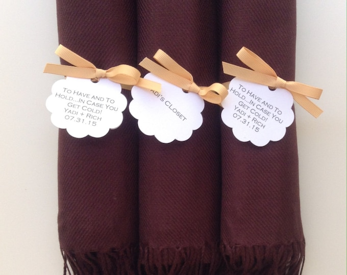 Chocolate Brown Shawls with Caramel Ribbon and Scallop Favor Tags, Set of 3, Pashmina, Scarf, Wedding Favors, Bridal Shower, Wraps