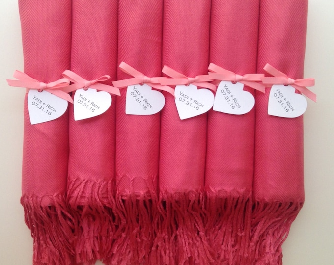 Bubblegum Pink Shawls with Pink Ribon and Heart Favor Tags, Set of 8, Pashmina, Wedding Favor, Bridal Shower Gift, Bridesmaids Gift, Wraps