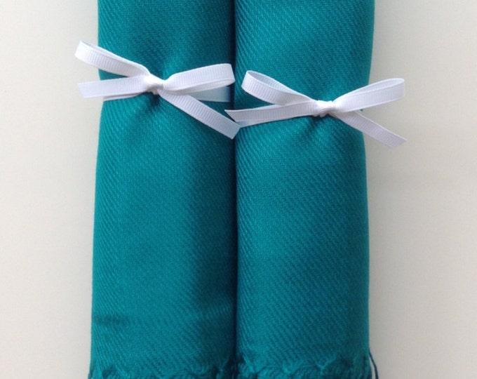 Peacock Blue Shawls with White Ribbon, Set of 2, Pashmina, Scarf, Wedding Favor, Bridal Shower Gift, Bridesmaids Gift, Wedding Keepsakes
