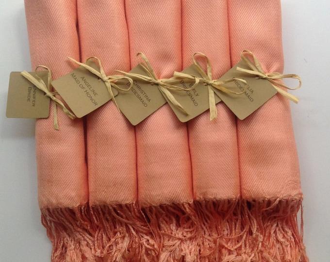 Peach Shawls with Raffia Ribbon and Kraft Favor Tags, Set of 6, Pashmina,Wedding Favor, Bridal Shower Gift, Bridesmaids Gift, Wraps