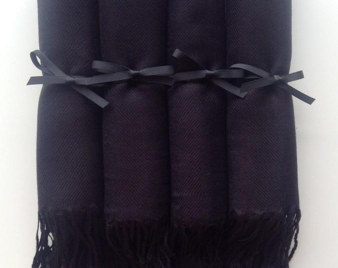 Black Shawls with Black Ribbon, Set of 4, Pashminas, Scarf, Wedding Favors, Bridal Shower, Bridesmaids Gift, Wraps