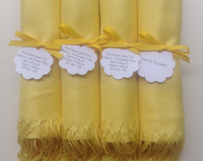 Sunshine Yellow Shawls with Yellow Ribbon and Scallop Favor Tags, Set of 4, Pashminas, Bridal, Bridesmaids Gift, Wraps, Welcome Bags
