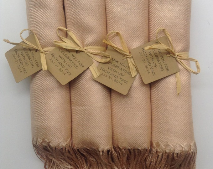 Champagne Shawls with Raffia Ribbon and Kraft Favor Tags, Set of 4, Pashmina, Scarf, Wedding Favor, Bridal Shower Gift, Bridesmaids Gift
