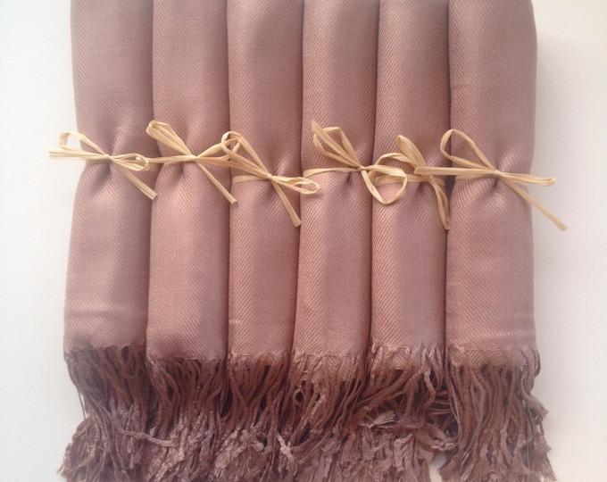 Mocha Shawls with Raffia Ribbon, Set of 8, Pashmina, Scarf, Wedding Favor, Bridal Shower Gift, Bridesmaids Gift, Wraps, Welcome Bags