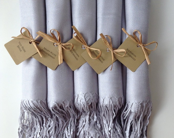 Light Silver Shawls with Raffia Ribbon and Kraft Favor Tags, Set of 5, Pashmina, Scarf, Wedding Favor, Bridal Shower Gift, Bridesmaids Gift