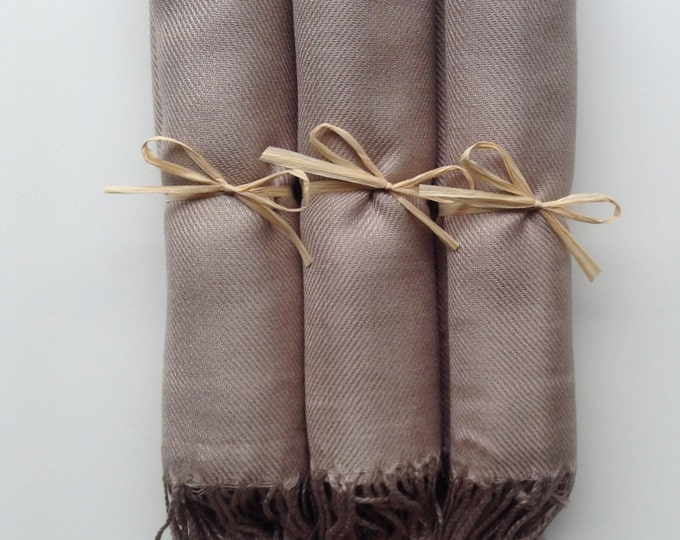 Pashmina, Taupe Shawls, Raffia Ribbon, Set of 3 Pashminas, Shawls, Wedding Favors, Bridal Shower Favors, Bridesmaid Gift, Pashmina