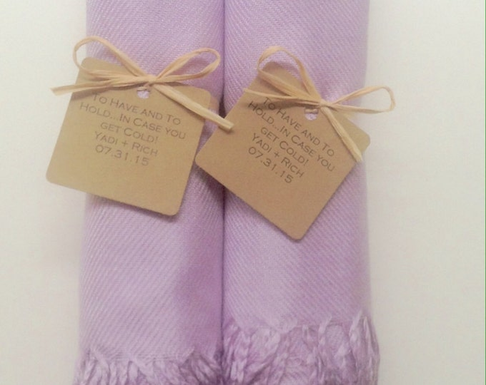 Lilac Shawls with Raffia Ribbon and Kraft Favor Tags, Set of 2, Pashminas, Scarf, Wedding Favor, Bridal Shower, Bridesmaids Gifts, Wraps