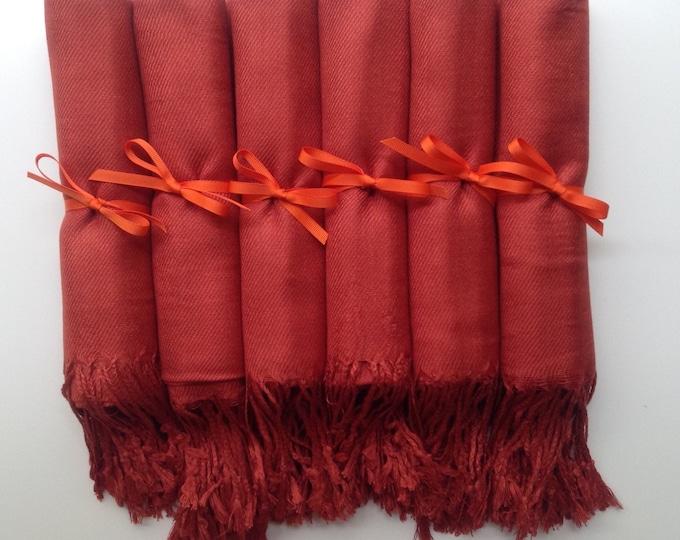Burnt Orange Shawls with Orange Ribbon, Set of 8, Pashmina, Scarf, Wedding Favor, Bridal Shower Gift, Bridesmaids Gift, Wedding Keepsakes