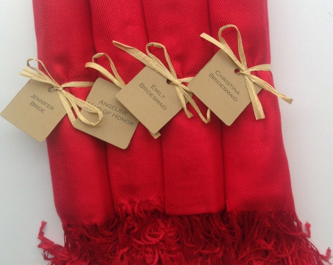 Red Shawls with Raffia Ribbon and Kraft Favor Tags, Set of 4, Pashmina, Wedding Favor, Bridal, Bridesmaids Gift, Wraps, Welcome Bags