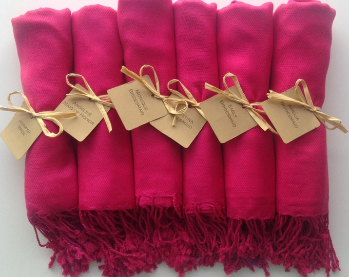 Hot Pink Shawls with Raffia Ribbon and Kraft Favor Tags, Set of 6, Pashmina, Wedding Favor, Bridal, Bridesmaids Gift, Wraps, Welcome Bags