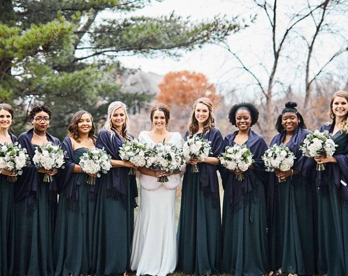 Pashmina, Dark Navy Blue Shawls, Raffia Ribbon, Set of 11, Pashminas, Wedding Favors, Shower Favors, Bridesmaid Gift, Bridesmaid Pashmina