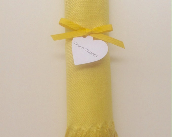Sunshine Yellow Shawl with Yellow Ribbon and Heart Favor Tag, 1, Pashminas, Wedding Favors, Bridal, Bridesmaids Gift, Wraps, Welcome Bags