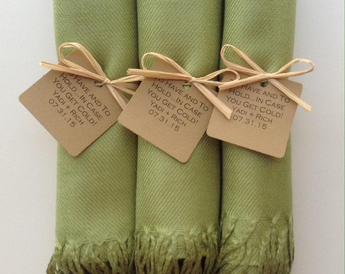 Lime Green Shawls with Raffia Ribbon and Kraft Favor Tags, Set of 3, Pashminas, Wedding Favors, Bridal, Bridesmaids Gift, Wedding Shawls