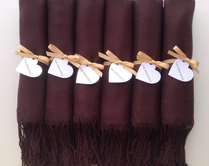Chocolate Brown Shawls with Caramel Ribbon and Heart Favor Tags, Set of 8, Pashmina, Scarf, Wedding Favors, Bridesmaids Gift, Wraps