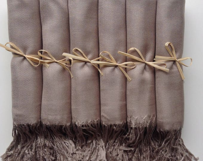 Pashmina, Taupe Shawls, Raffia Ribbon, Set of 7, Pashminas, Shawls, Wedding Favors, Bridal Shower Favors, Bridesmaids Gift, Pashmina, Shawls